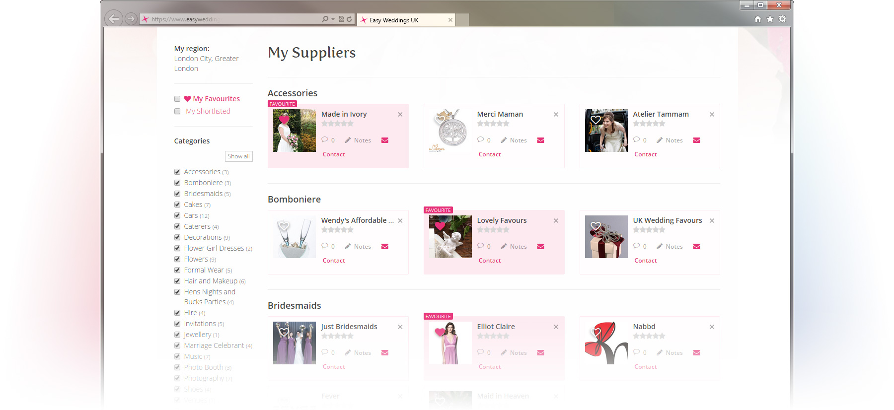 My Weddings Suppliers screen in the free Easy Weddings Wedding Planning account