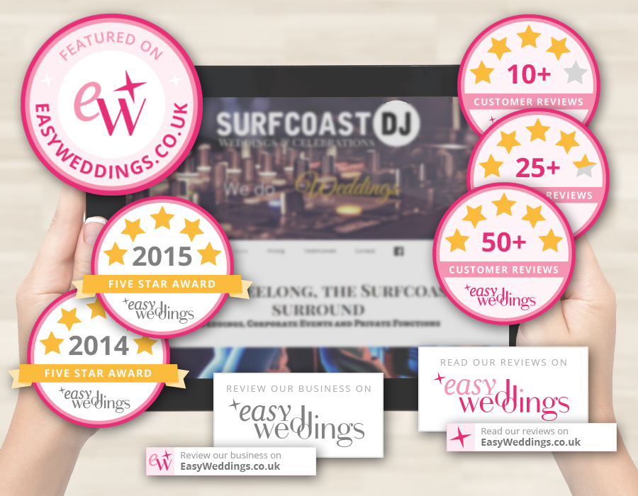 Badges and Buttons to promote your success via Easy Weddings