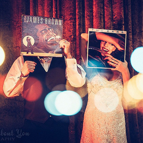 Bride and groom Adrienne and Brian 's vintage-inspired wedding had to have the odd sleeveface shot! Image: All About You Photography
