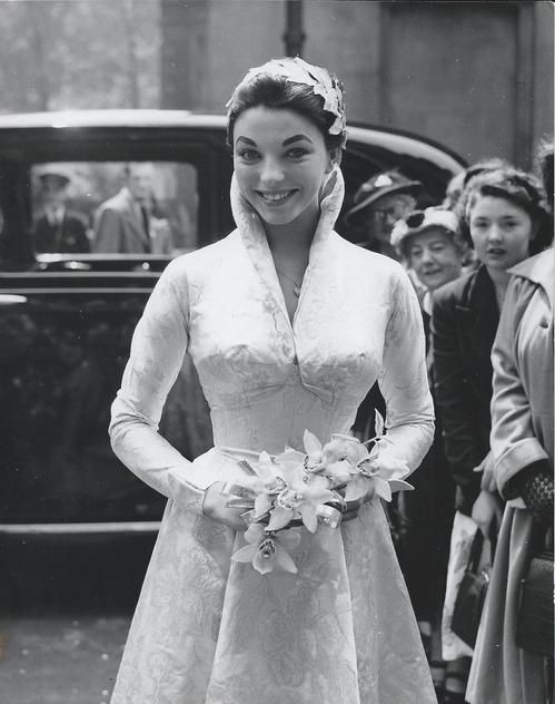 Joan Collins 1950s belero jacket wedding dress