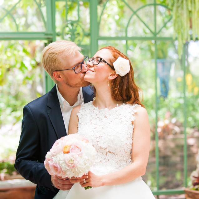 Ryan & Kathleen Pocius celebrate their 11th of July wedding at Denver's Botanical Gardens. Image: Ryan Pocius via Facebook