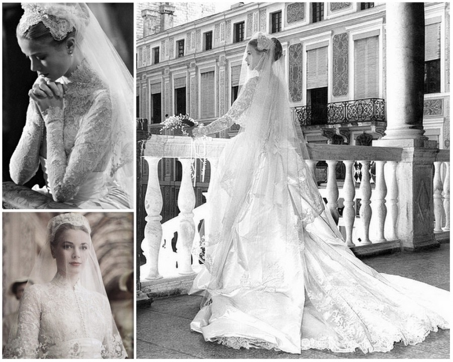 Grace Kelly in vintage wedding dress in the 1950s
