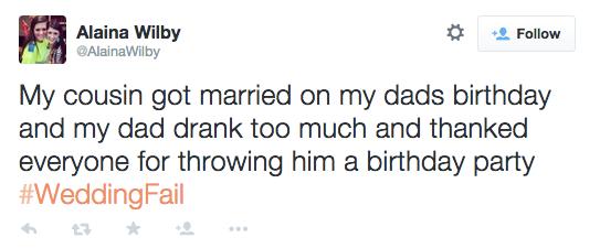 #WeddingFail tweet showing hilarity of a typical wedding