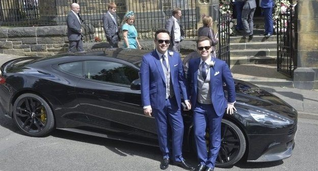 Declan Donnolly and  best man Anthony McPartlin in Newcastle. Image: BBC