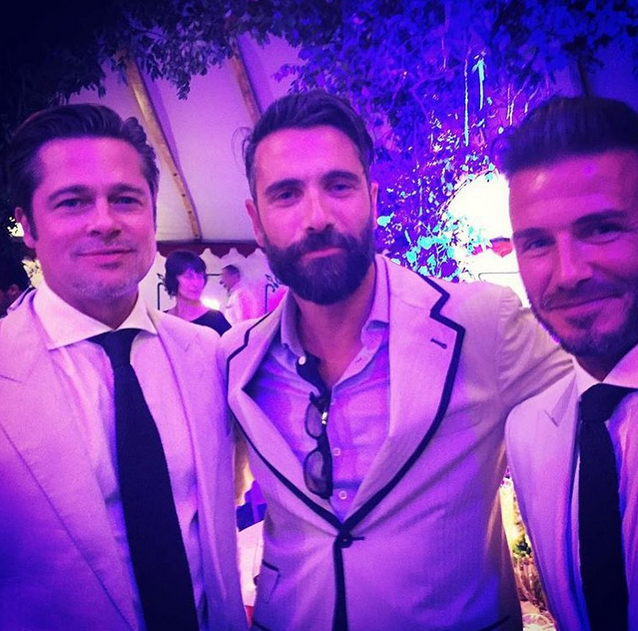 Brad Pitt, Henry Cavill, David Beckham at the Ritchies' wedding. Image: @victoriaposhbeckham via Instagram