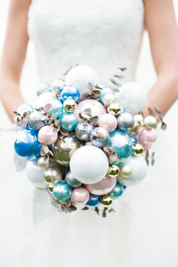 Blue bauble Christmas bouquet