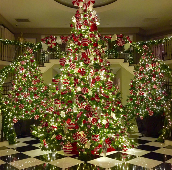 Kim's mother Kris Jenner shared this picture on Twitter of the family's three brightly decorated Christmas trees.