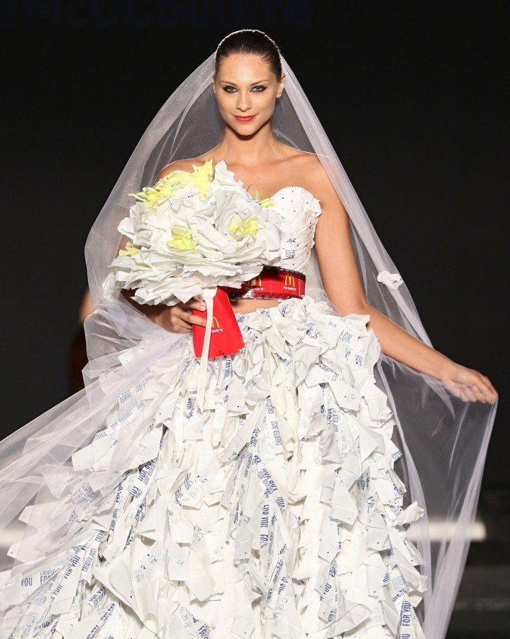 A wedding dress made from McDonald's wrappers! Image: Getty/Alexander Tamargo