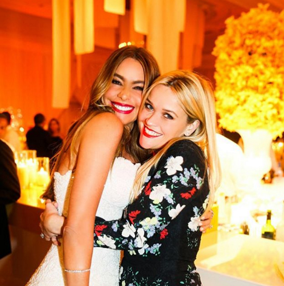 Reese Witherspoon posted a sweet snap of her and Sofia hugging it out at Sofia's lavish wedding. Image: Reese Witherspoon via Instagram