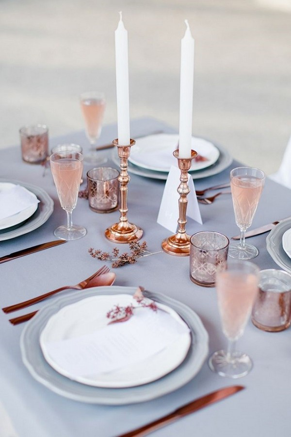 Rose Quartz and Serenity table setting. Image Hilal and Moses