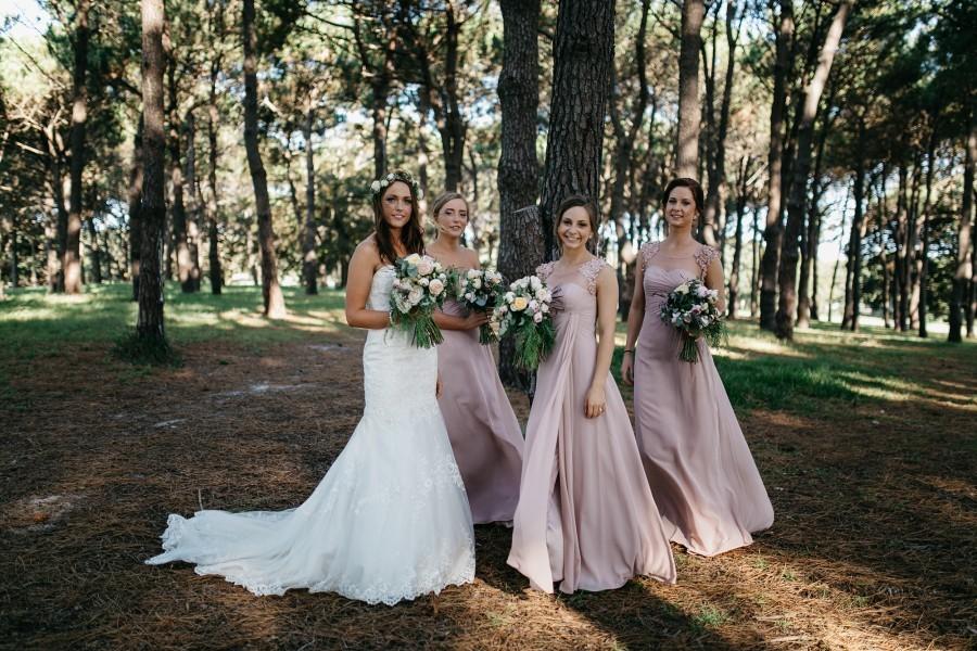 Rose Quartz bridesmaids dresses are the perfect accent to a pastel colour theme. Image: Damien Furey Photography