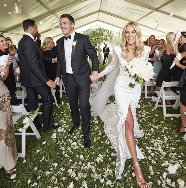 Sam and Phoebe have married in a stylish ceremony in New South Wales, Australia. Image: Alex Perry via Instagram