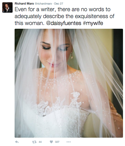 Richard posted this photo to Twitter just three days after the couple married. Image: Richard Marx via Twitter