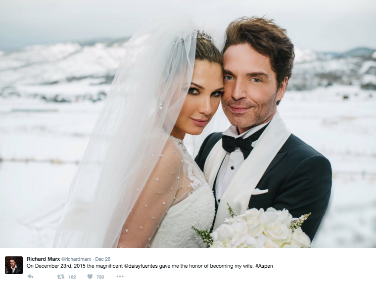 Daisy Fuentes and Richard Marx have taken to social media to share snaps of their snowy Aspen wedding. Image: Richard Marx via Twitter