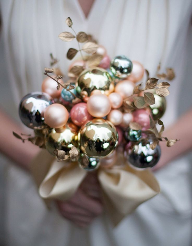 Wedding bouquet - Christmas Baubles - metallic